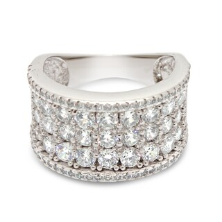 Gioelli Sterling Silver Pave Multi Round-cut Cubic Zirconia Designer Band Ring