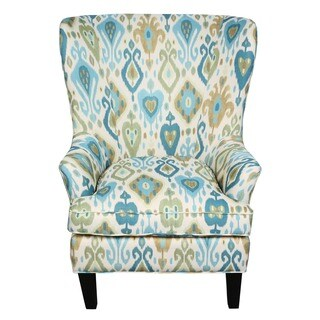 Porter Clover Green and Teal Ikat Wingback Accent Chair