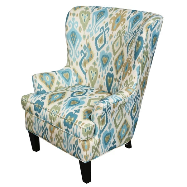 Porter Clover Green and Teal Ikat Wingback Accent Chair ...