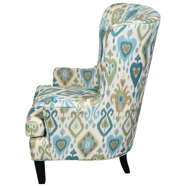 Superb Shop Porter Clover Green And Teal Ikat Wingback Accent Chair Lamtechconsult Wood Chair Design Ideas Lamtechconsultcom