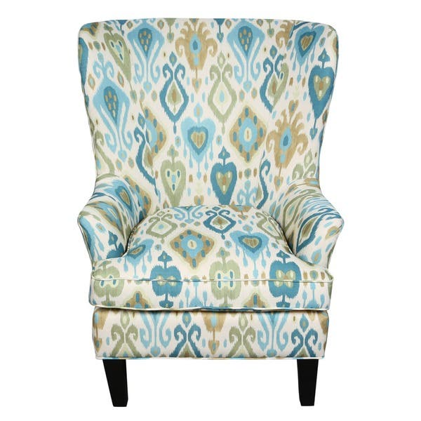 Pleasing Shop Porter Clover Green And Teal Ikat Wingback Accent Chair Lamtechconsult Wood Chair Design Ideas Lamtechconsultcom