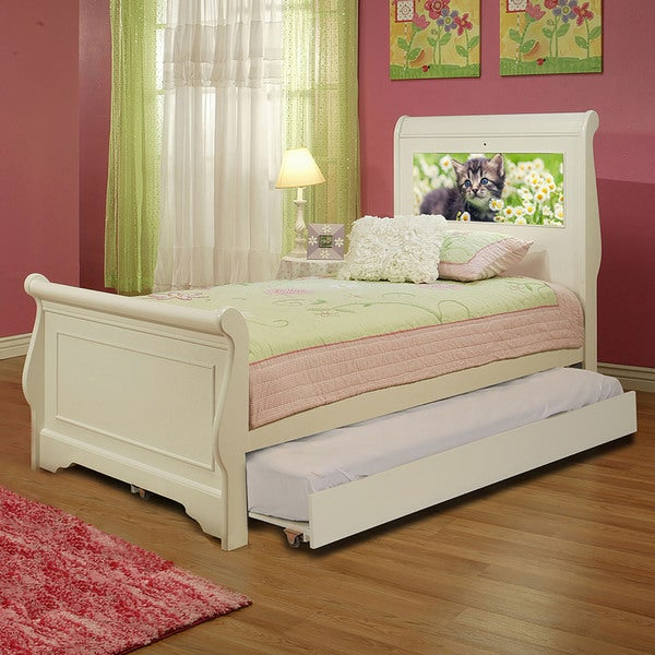 Shop LightHeaded Edgewood White Finish Twin Bedframe with Trundle ...