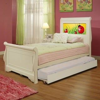 LightHeaded Edgewood White Finish Twin Bedframe with Trundle