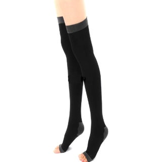 Slimming Open Toe Over-the-Knee Fashion Compression Hosiery (Option: Black)