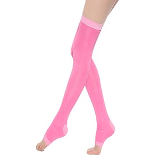 Slimming Open Toe Over-the-Knee Fashion Compression Hosiery (Option: Pink)