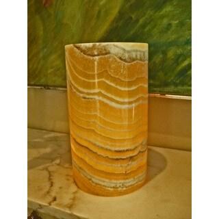 Handmade Alabaster Hurricane Pillar Candleholder (Egypt)