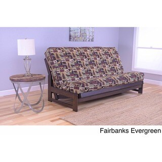 Copper Grove Yellowstone Mocha Futon Frame with Patterned Fabric Futon Mattress (Fairbanks Evergreen Mattress)