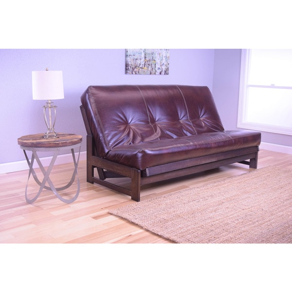 Somette Aspen Mocha Futon Frame And Brown Leather Like Fabric Mattress