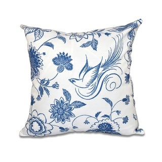 Traditional Bird Floral Print 16-inch Throw Pillow