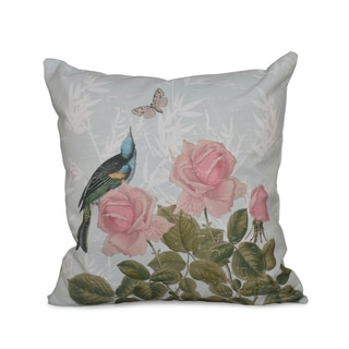 Asian Rose Floral Print 16-inch Throw Pillow