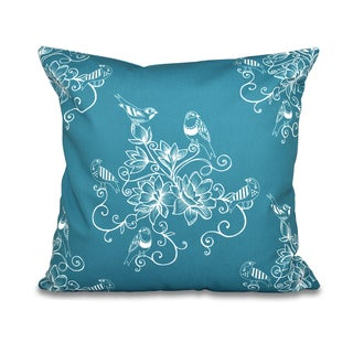 Morning Birds Floral Print 18-inch Throw Pillow