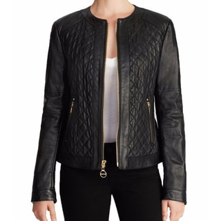 Laundry by Shelli Segal Black Quiloted Leather Jacket