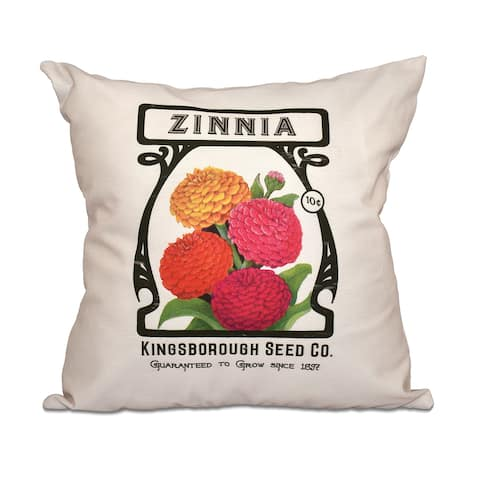 Zinnia Floral Print 18-inch Throw Pillow