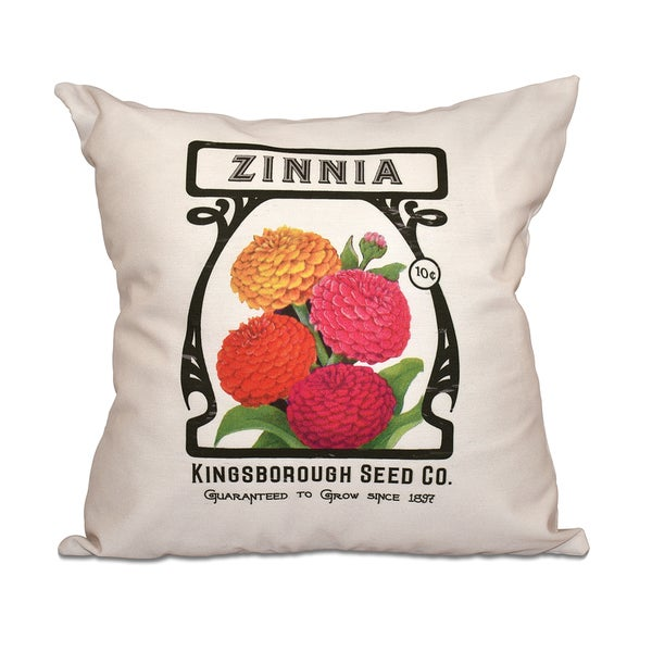 Zinnia Floral Print 18-inch Throw Pillow
