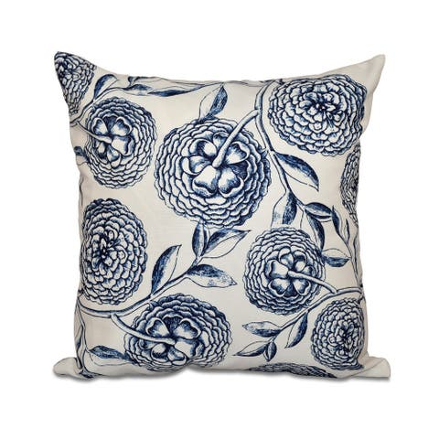 Antique Flowers Floral Print 18-inch Throw Pillow