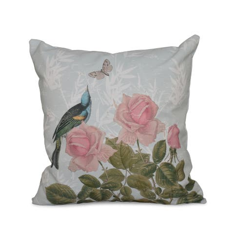 Asian Rose Floral Print 18-inch Throw Pillow