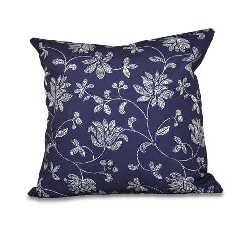 Traditional Floral Print 18-inch Throw Pillow