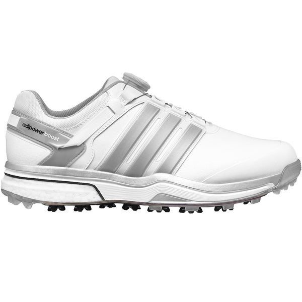 Adidas Adipower BOA Boost Golf Shoes CLOSEOUT White/Silver Metallic/White
