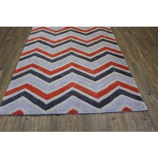 Orange Grey Charcoal Beige Color Area Rug (5' x 7')