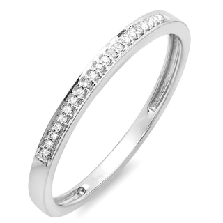 Elora 10k White Gold 1/10ct TDW Round Diamond Ring Wedding Anniversary Stackable Band (I-J, I2-I3)