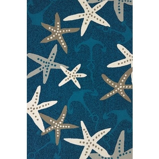 Piazza Lilah Cyan Indoor/ Outdoor Accent Rug (1'11 x 3')