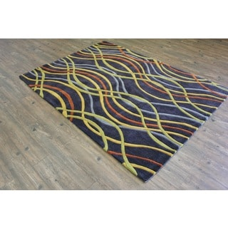 Charcoal Yellow Grey Copper Green Color Area Rug (5' x 7')