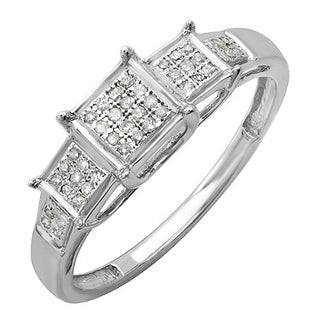Elora Sterling Silver 1/6ct TDW Round Diamond Past Present Future Ring (I-J, I2-I3)