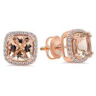 Elora 14k Rose Gold 2 1/3ct TGW Cushion-cut Morganite and Diamond Halo Stud Earrings (I-J, I2-I3)