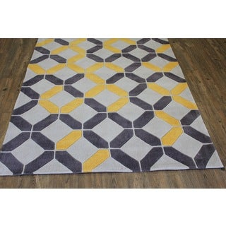 Yellow Grey Beige Color Area Rug - 5' x 7'