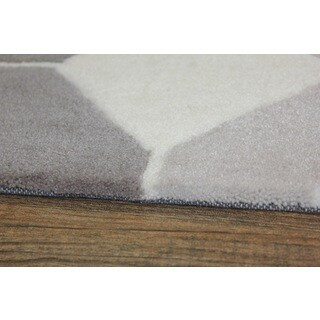Light Beige Silver Grey Color Area Rug (5' x 7')