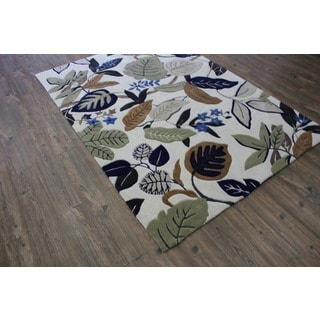 Beige Blue Green Charcoal Color Area Rug (5' x 7')