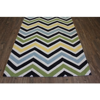 Green Blue Yellow White Charcoal Color Area Rug (5' x 7')