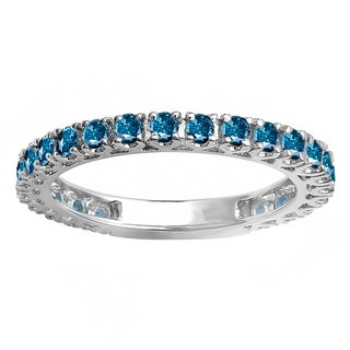 Elora 14k White Gold 1ct TDW Round Blue Diamond Eternity Ring (Blue, I1-I2)