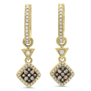 14k Gold 1/2ct TDW Round Champagne and White Diamond Cluster Style Dangling Drop Earrings (I-J, I1-I2)