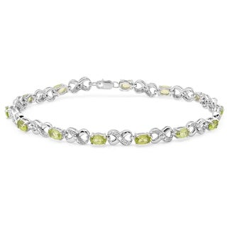 Elora Sterling Silver 3 1/5ct TGW Peridot and Diamond Infinity Link Tennis Bracelet (I-J, I2-I3)