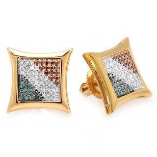 Elora Sterling Silver 1/3ct TDW Multi-color Round Diamond Kite Shape Stud Earrings (I-J, I2-I3)