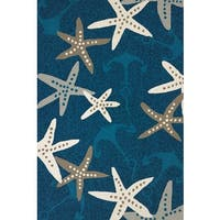 "Piazza Lilah Cyan Indoor/ Outdoor Area Rug - 7'9"" x 9'9"""