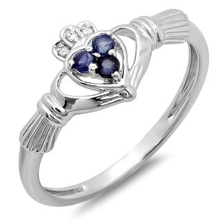 10k Gold 1/6ct TDW Diamond and Blue Sapphire Promise Irish Love and Friendship Claddagh Ring (H-I, I1-I2)