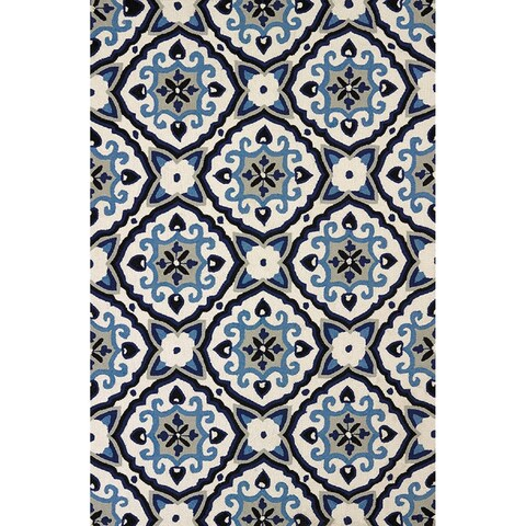 Piazza Adelaide Navy Indoor/ Outdoor Area Rug - 5' x 7'6""
