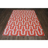 Orange White Area Rug - 5' x 7'