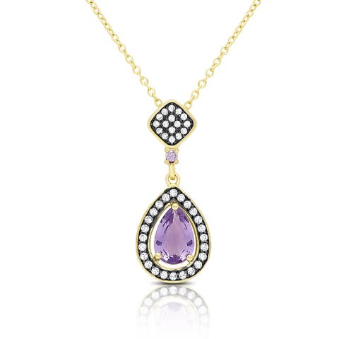 Samantha Stone Gold Over Sterling Silver Simulated Amethyst and Cubic Zirconia Teardrop Necklace