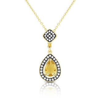 Samantha Stone Gold Over Sterling Silver Simulated Citrine and Cubic Zirconia Teardrop Necklace