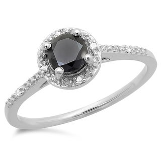 10k White Gold 5/8ct TDW Round-cut Black and White Diamond Engagement Ring (I-J, I2-I3)