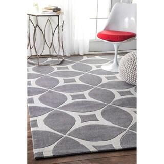 nuLOOM Handmade Modern Disco Grey Rug (7'6 x 9'6)