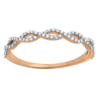 14k Gold 1/5ct TDW Diamond Swirl Anniversary Stackable Ring (I-J, I2-I3)