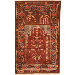 Herat Oriental Afghan Hand-knotted 1980s Semi-antique Tribal Balouchi Red/ Navy Wool Rug (2'9 x 4'10)
