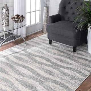 nuLOOM Contermporary Geometric Waves Grey Rug (10' x 14')