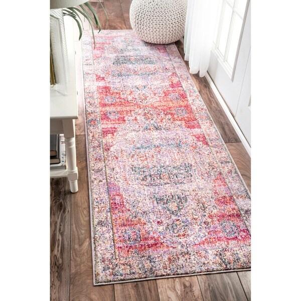 nuloom vintage floral medallion blush runner rug 2 39 6 x 8 39 free shipping today overstock. Black Bedroom Furniture Sets. Home Design Ideas