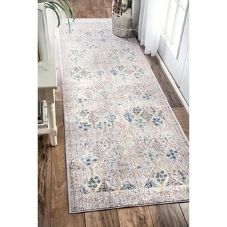 nuLOOM Traditional Vintage Trellis Grey Runner Rug (2'6 x 8')