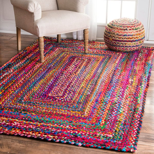 nuLOOM Casual Handmade Braided Cotton Multi Rug (7'6 x 9'6)